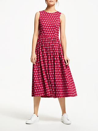 People Tree V&A Esher Print Cotton Midi Dress, Red