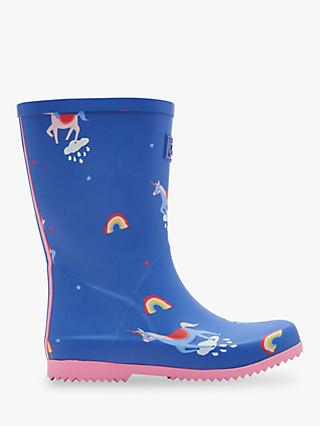 Joules Children's Roll Up Unicorn Cloud Wellington Boots, Blue