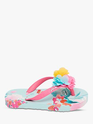 Little Joule Children's Floral Flip Flops, Blue
