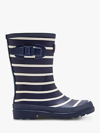 Joules Children's Stripe Wellington Boots, Navy