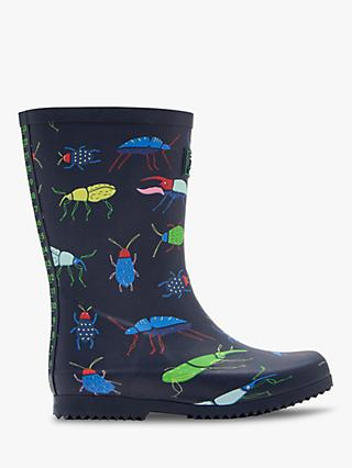 Joules Children's Roll Up Beetle Wellington Boots, Blue