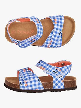Little Joule Children's Gingham Cherry Tippy Toes Sandals, Navy
