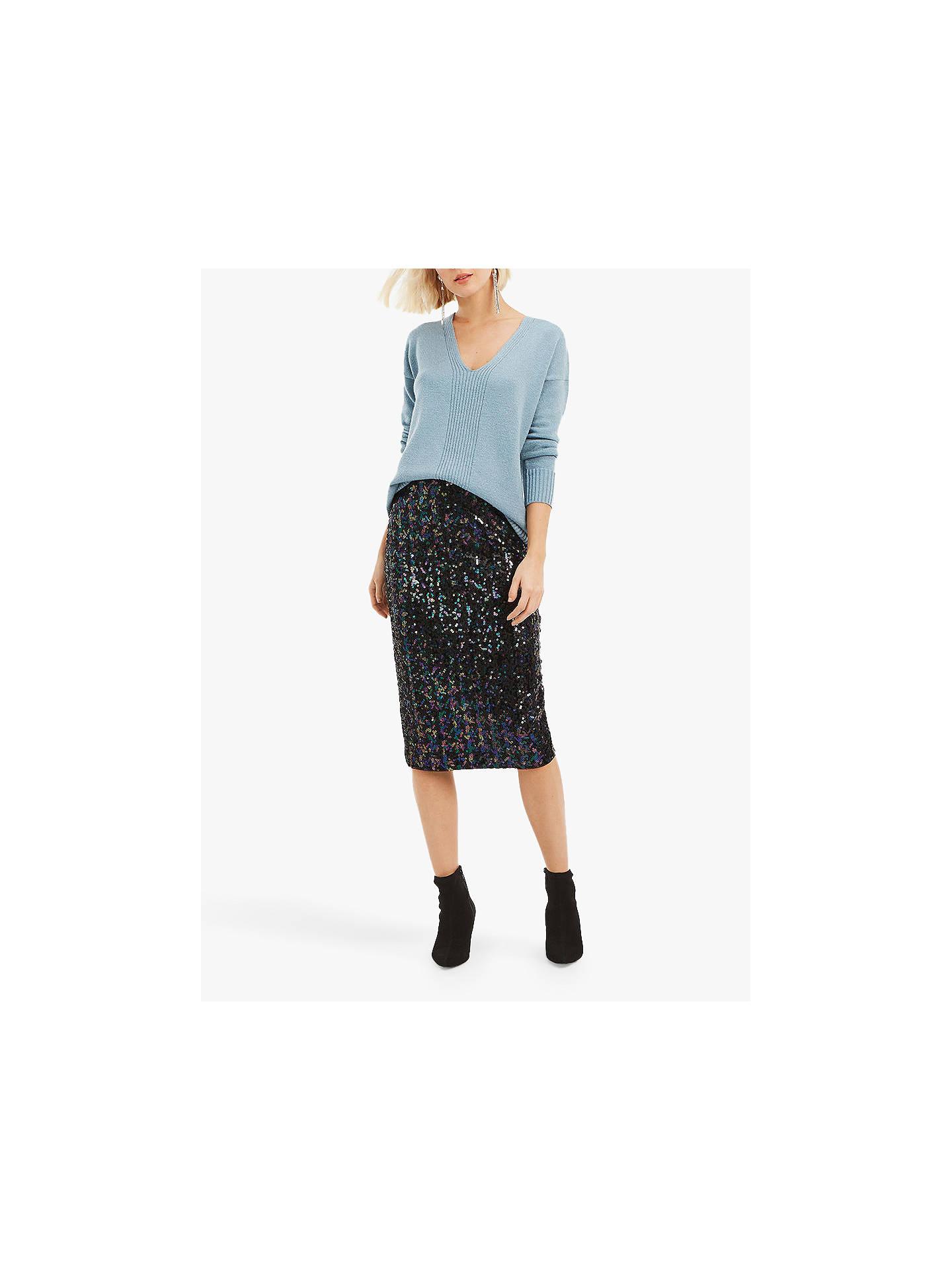 7c54dac746 Buy Oasis Sequin Pencil Midi Skirt, Black/Multi, S Online at johnlewis.