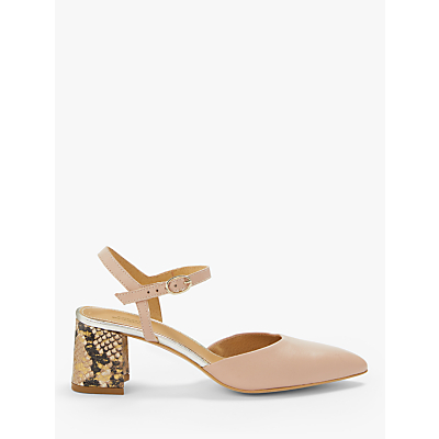 Modern Rarity Carly Slingback Block Heel Court Shoes, Nude Leather/Snake
