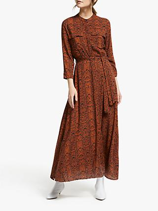 Y.A.S Python Maxi Shirt Dress, Bombay Brown