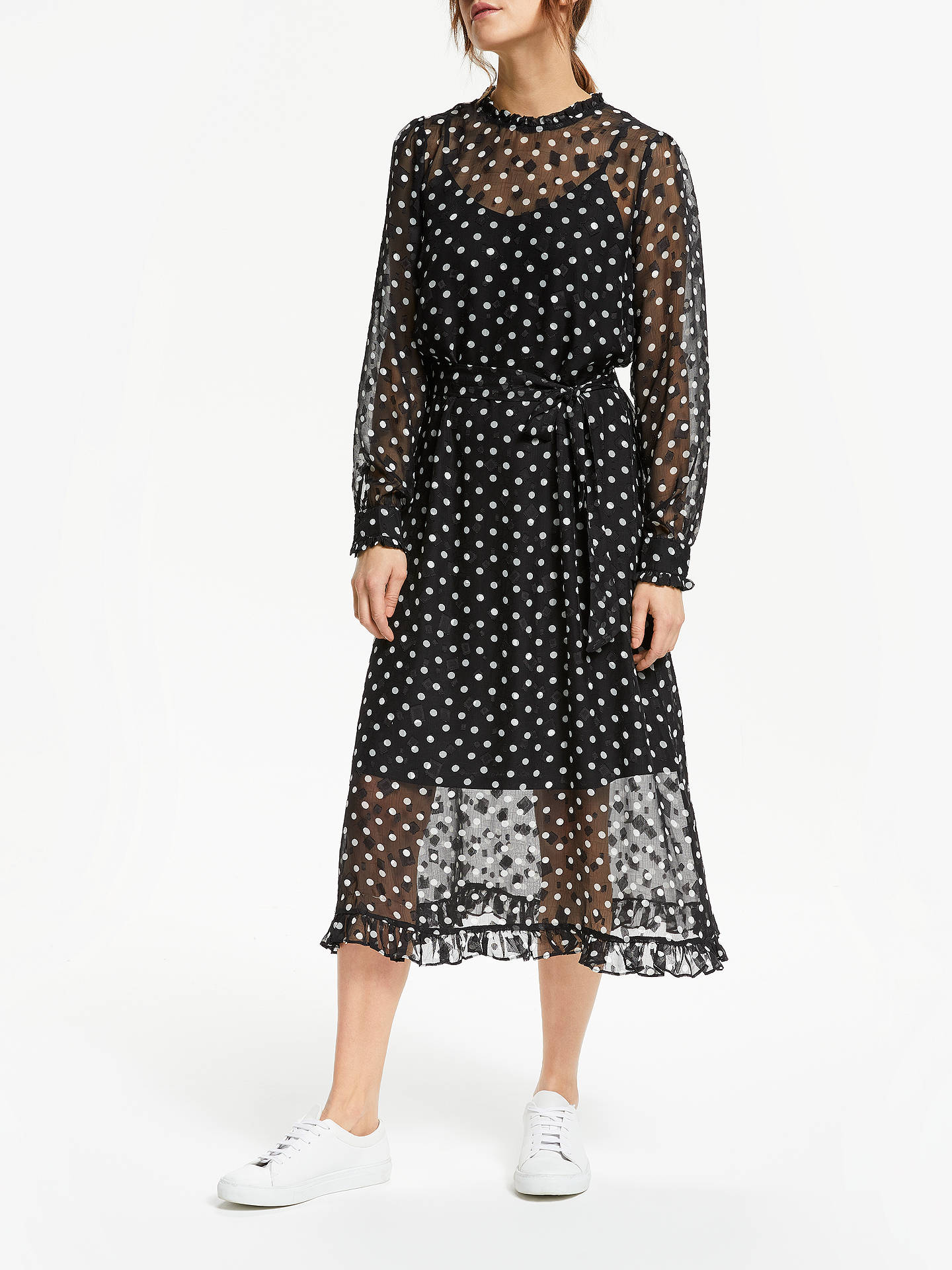 814f8f78bfe0 Buy Y.A.S Monochrome Polka Dot Dress, Black/White, M Online at johnlewis.
