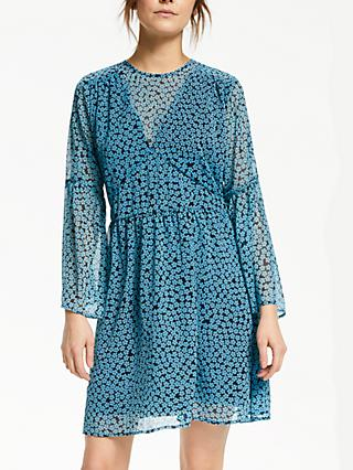 Y.A.S Daisy Print Smock Dress, Blue