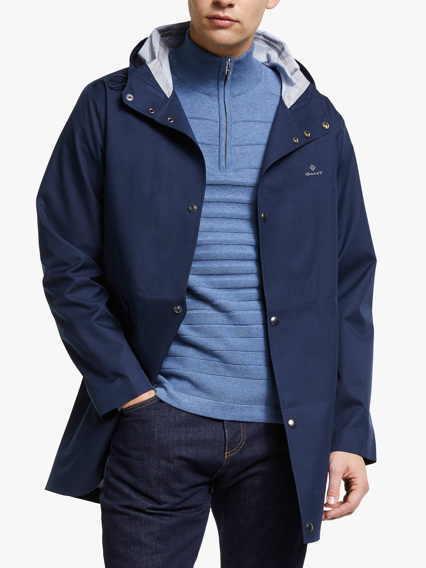 3999aa921ad Buy GANT Mid Length Hooded Jacket, Marine, S Online at johnlewis.com ...