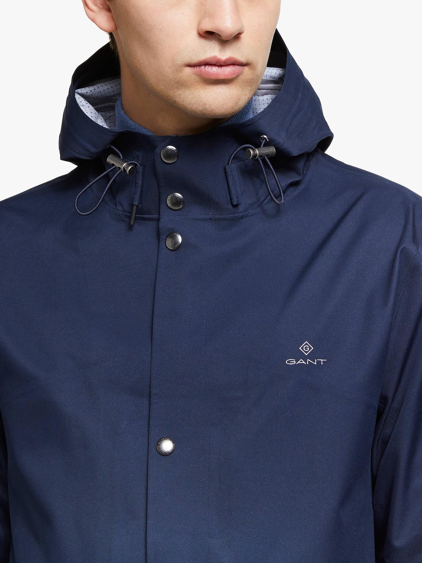 dd63e92e78c ... Buy GANT Mid Length Hooded Jacket, Marine, S Online at johnlewis.com ...