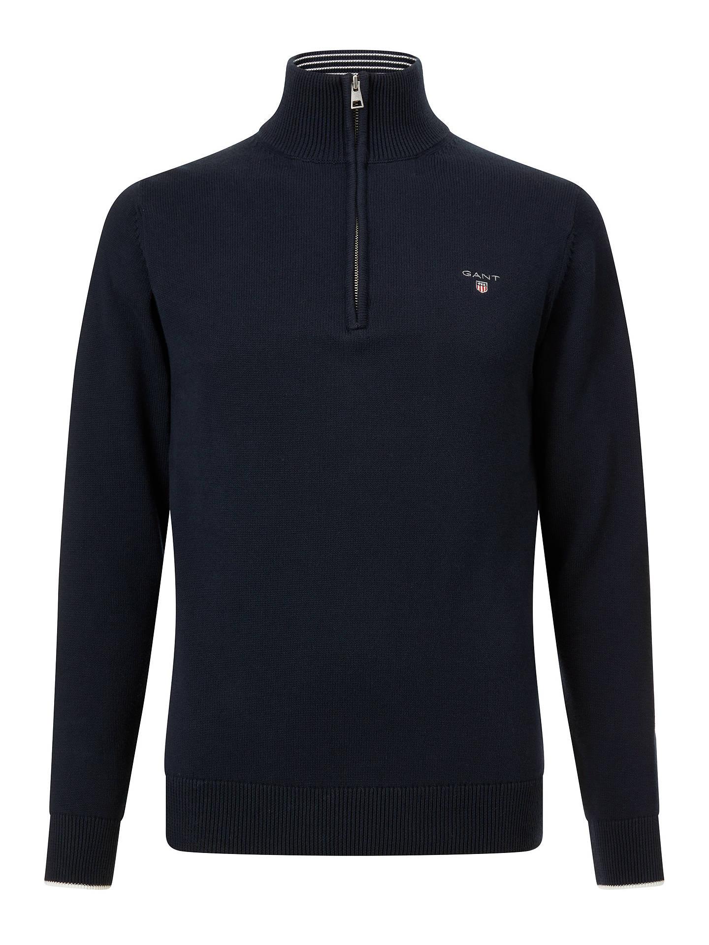 24d850d316d ... Buy GANT Contrast Half Zip Jumper, Evening Blue, M Online at  johnlewis.com ...