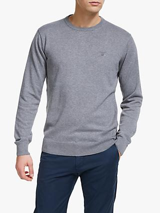 GANT Lightweight Cotton Crew Neck Jumper, Grey