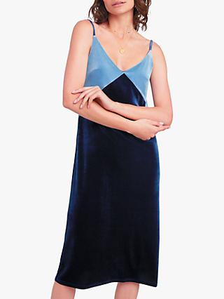 hush Velour Slip Dress, Midnight/Steel Blue