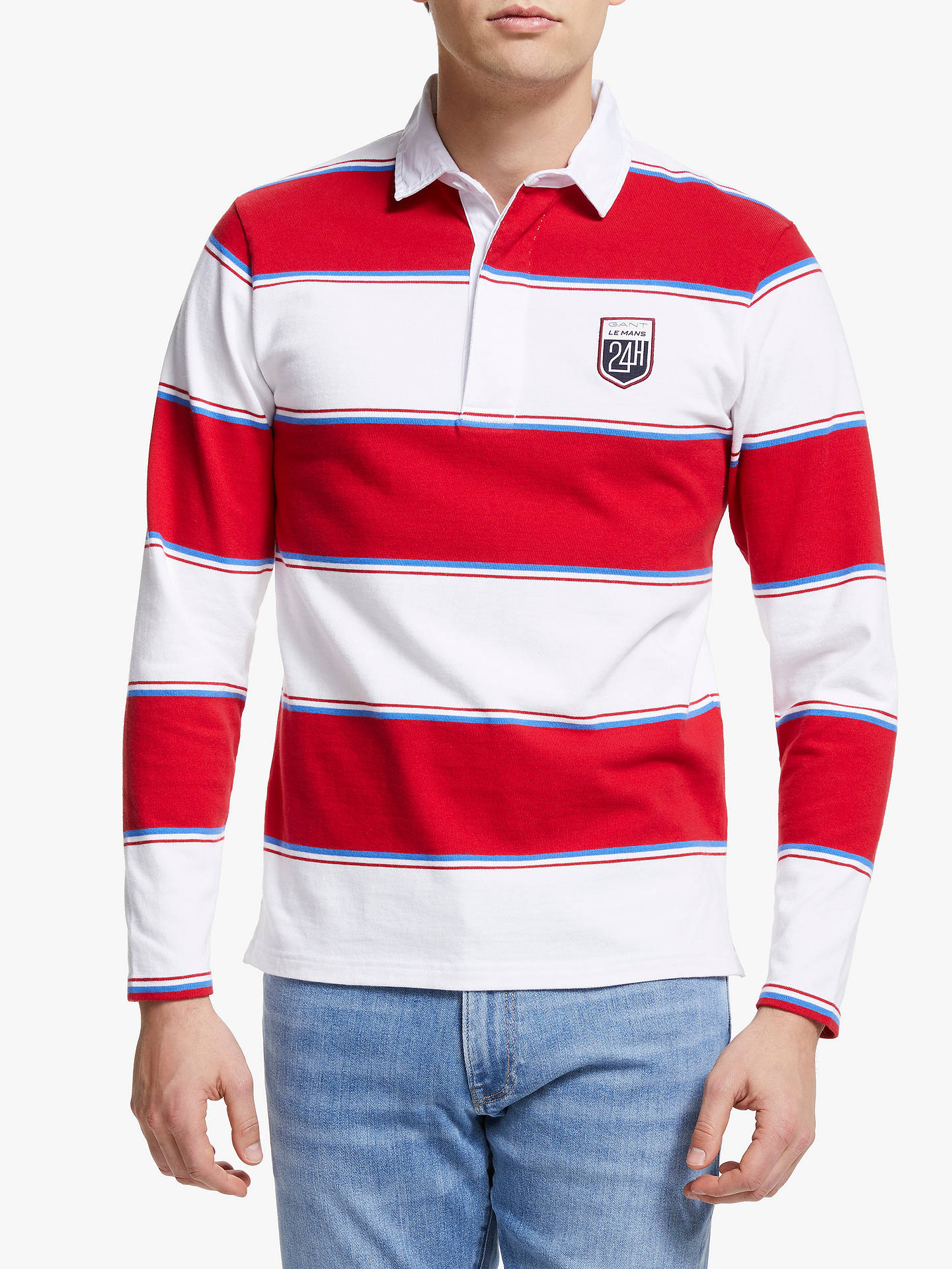5357c6668b1 Buy GANT Le Mans Long Sleeve Striped Polo Shirt, White/Red, XL Online ...
