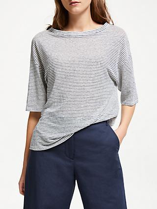 0d475ca36245c4 Weekend MaxMara Linen Stripe T-Shirt, Ultra Marine