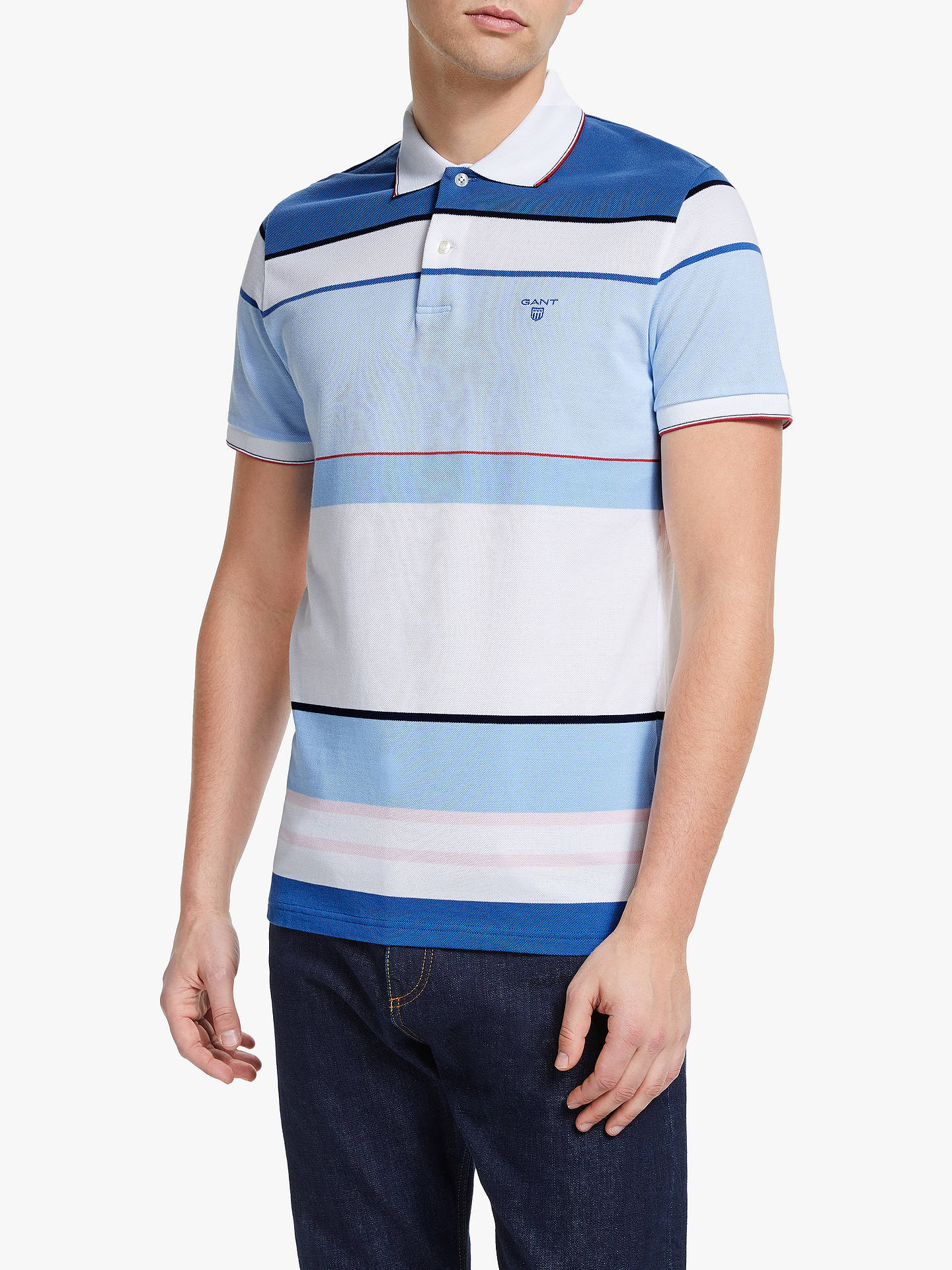 8d97178b1bf Buy GANT Contrast Colour Block Polo Shirt, Blue, L Online at johnlewis.com  ...