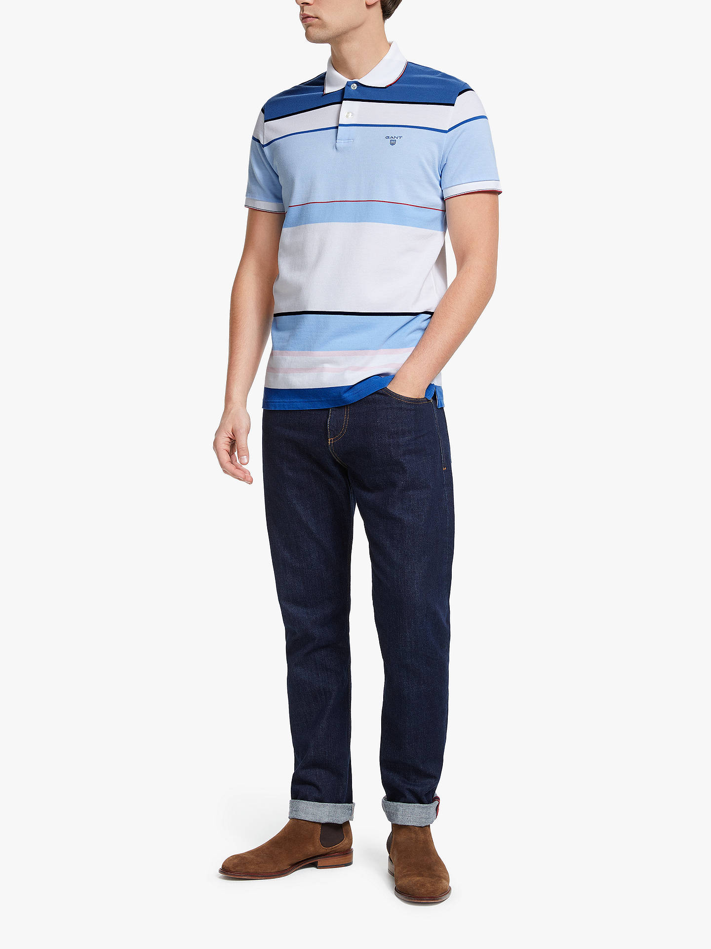 87dfca1eba3 ... Buy GANT Contrast Colour Block Polo Shirt, Blue, L Online at  johnlewis.com ...