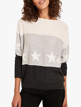 Mint Velvet Batwing Star Jumper, Grey