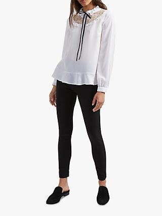 French Connection Tie Neck Crepe Top, Winter White