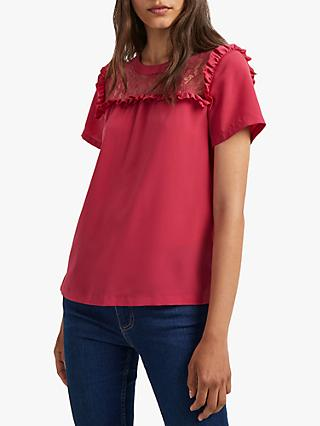 French Connection Polly Crepe Short Sleeve Top