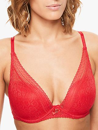 Chantelle Festivité Plunge T-Shirt Bra, Poppy Red