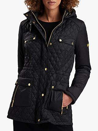 Barbour International Penhal Quilted Hooded Jacket, Black