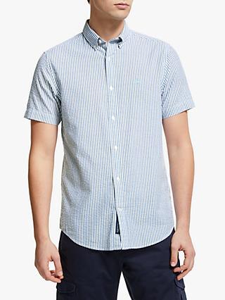 d125fd9bede GANT Tech Prep Seersucker Stripe Short Sleeve Shirt, Blue