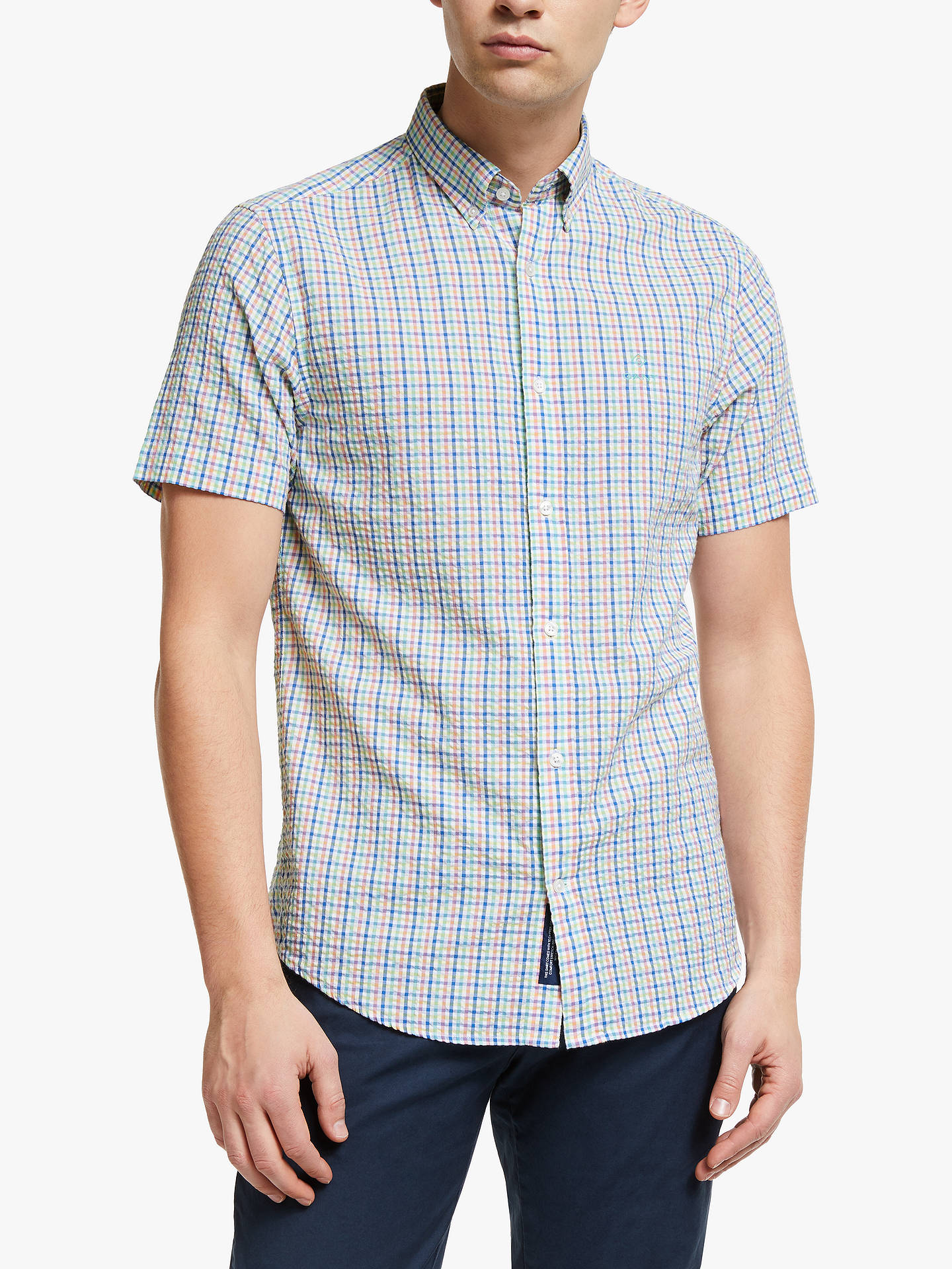 a6126a75991 Buy GANT Tech Prep Seersucker Multi Check Short Sleeve Shirt, White/Multi,  S ...
