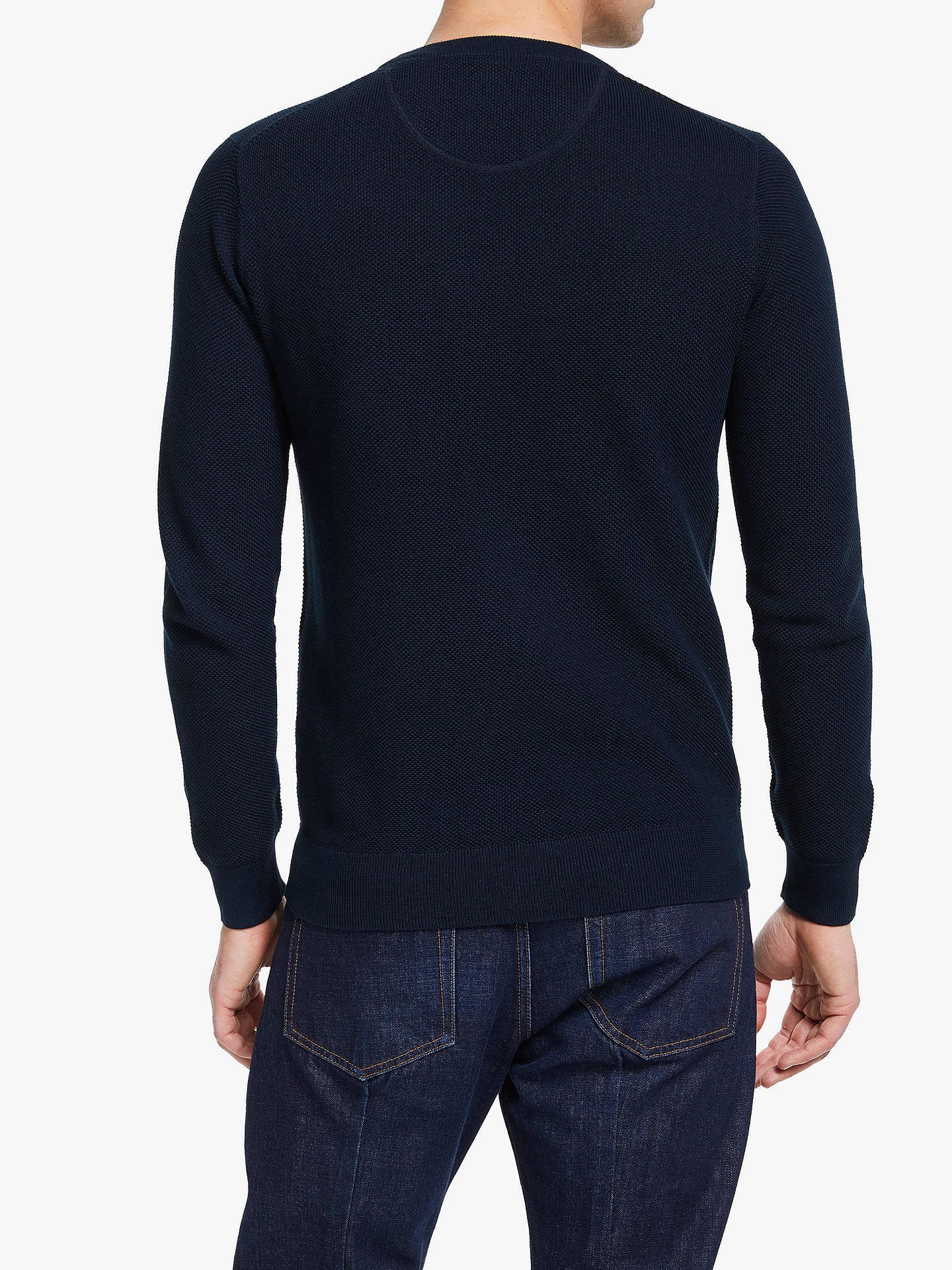 BuyGANT Cotton Pique Crew Neck Jumper, Navy, S Online at johnlewis.com