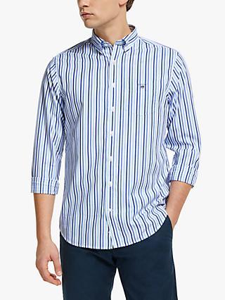 7e8a16b524 GANT Broadcloth Cotton Three Colour Stripe Shirt, College Blue