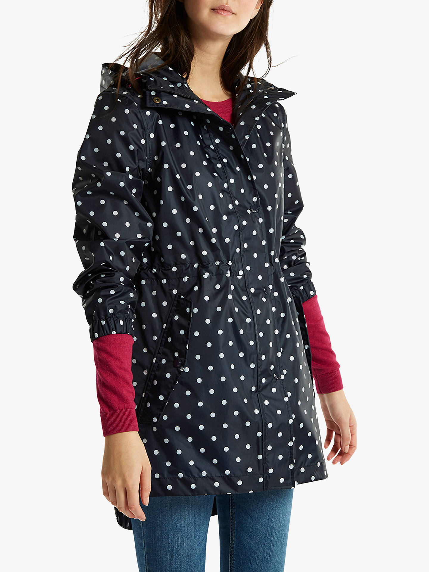 3261074add36 Joules Golightly Pack-Away Waterproof Spot Print Parka Coat at John ...