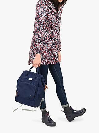 Joules Golightly Pack-Away Waterproof Ditsy Print Parka Coat, Navy