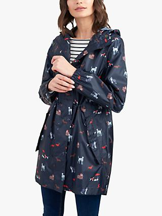 Joules Golightly Pack-Away Dog Print Waterproof Parka Coat, Navy