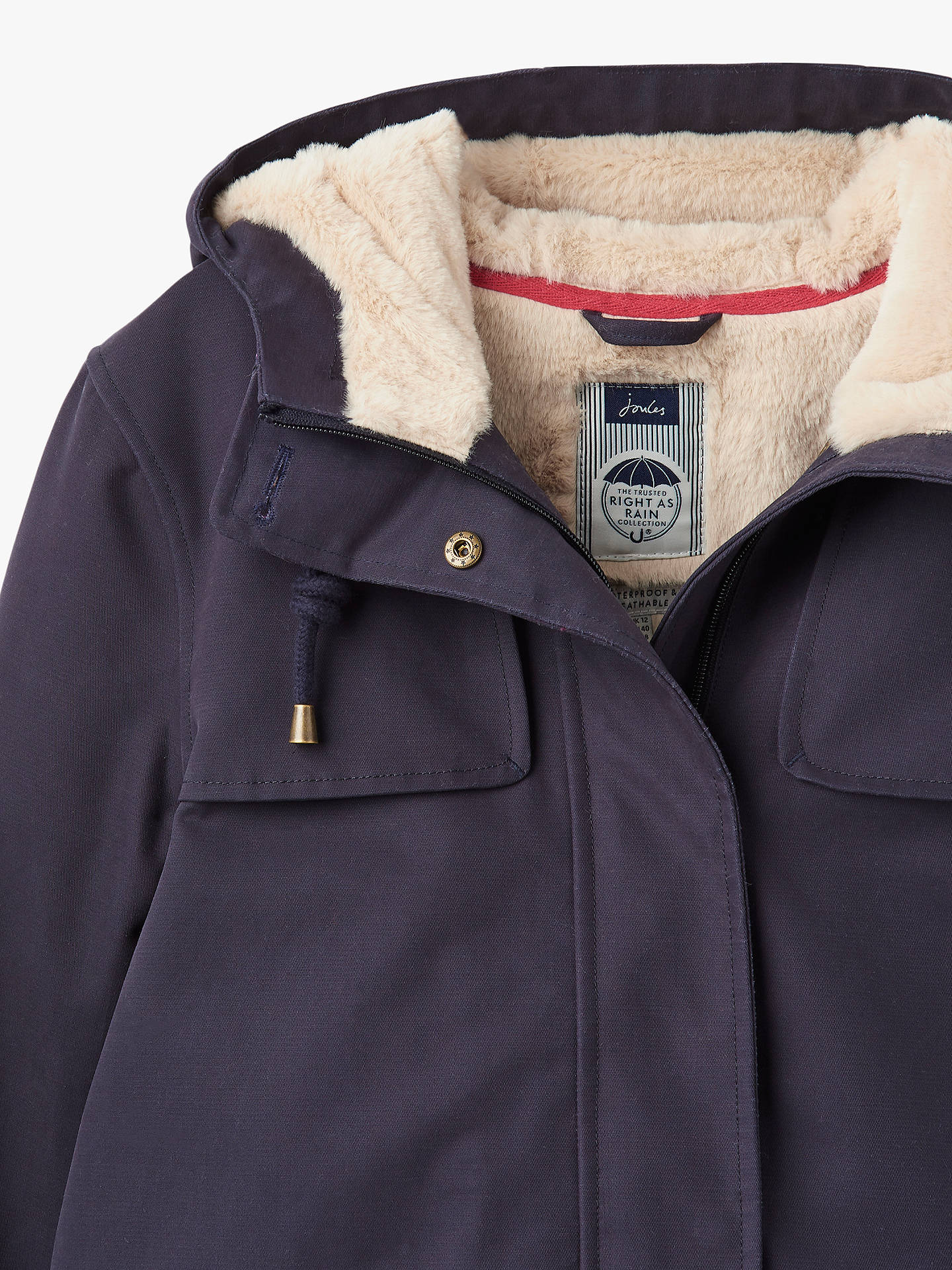 53d4745e9 Buy Joules Coast Cosy Sherpa Lined Jacket, Marine Navy, 12 Online at  johnlewis.