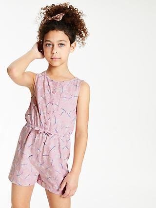 John Lewis & Partners Girls' Dragonfly Print Playsuit, Lilac