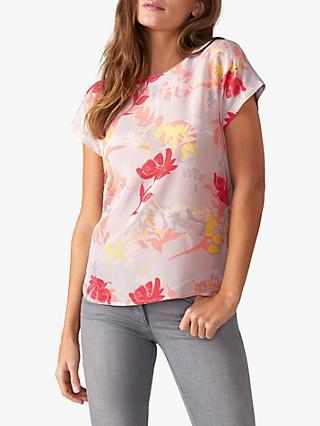 Pure Collection Floral Silk Front Top, Silver Print