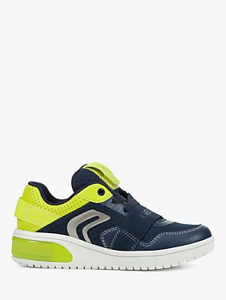 Geox Children's XLED B Trainers, Navy/Lime