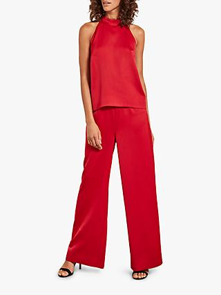 Mint Velvet Halterneck Satin Jumpsuit, Red