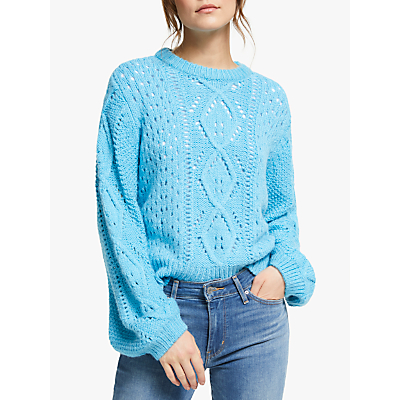 Image of Y.A.S Balloon Sleeve Knit Pullover, Blue