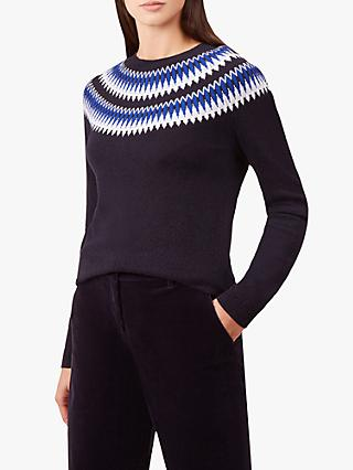 Hobbs Greta Wool Blend Jumper, Navy Multi