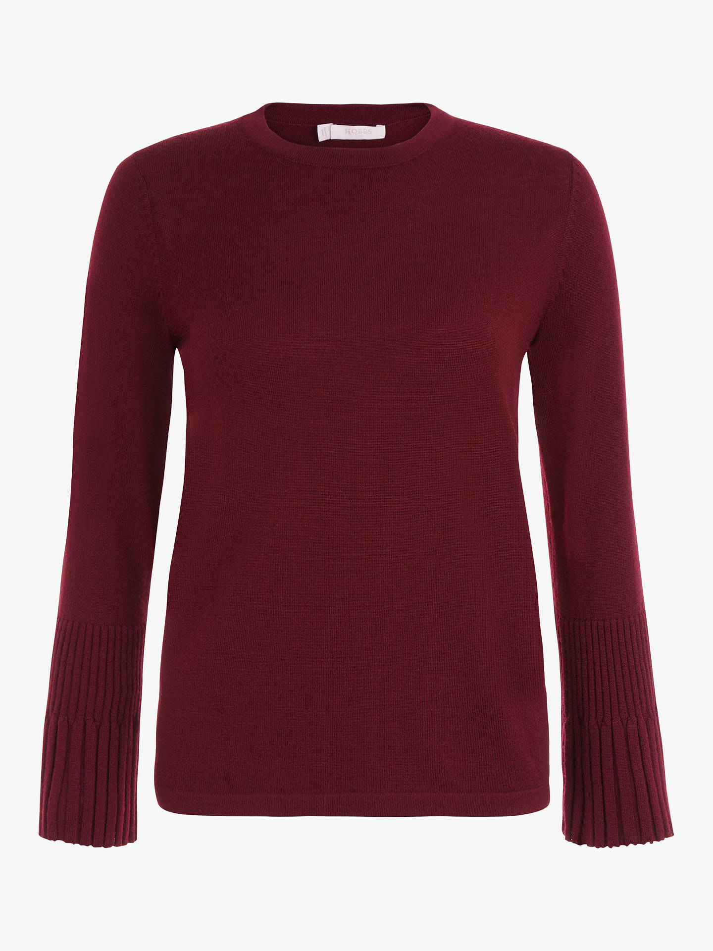 BuyHobbs Helen Merino Wool Jumper, Burgundy, XS Online at johnlewis.com