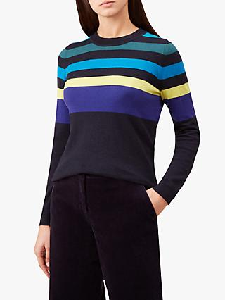 Hobbs Sarah Stripe Jumper, Navy Multi