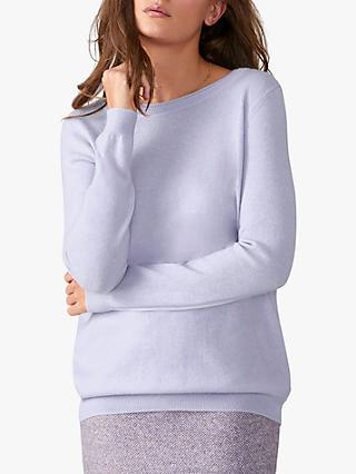 Pure Collection Cashmere Boyfriend Jumper, Cornflower Lilac