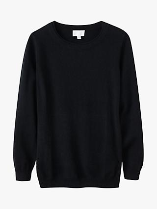 Pure Collection Cashmere Boyfriend Jumper, Black