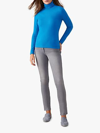 Pure Collection Cashmere Roll Neck Jumper, Greek Blue