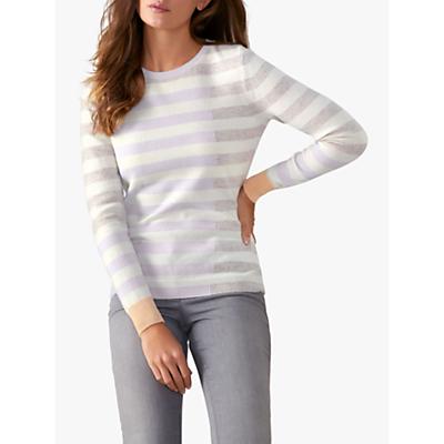 Pure Collection Colour Block Striped Cashmere Jumper, Multi