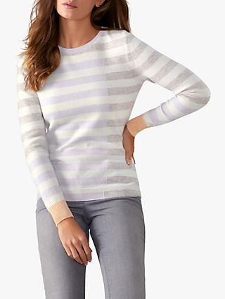 Pure Collection Colour Block Striped Cashmere Jumper, Multi