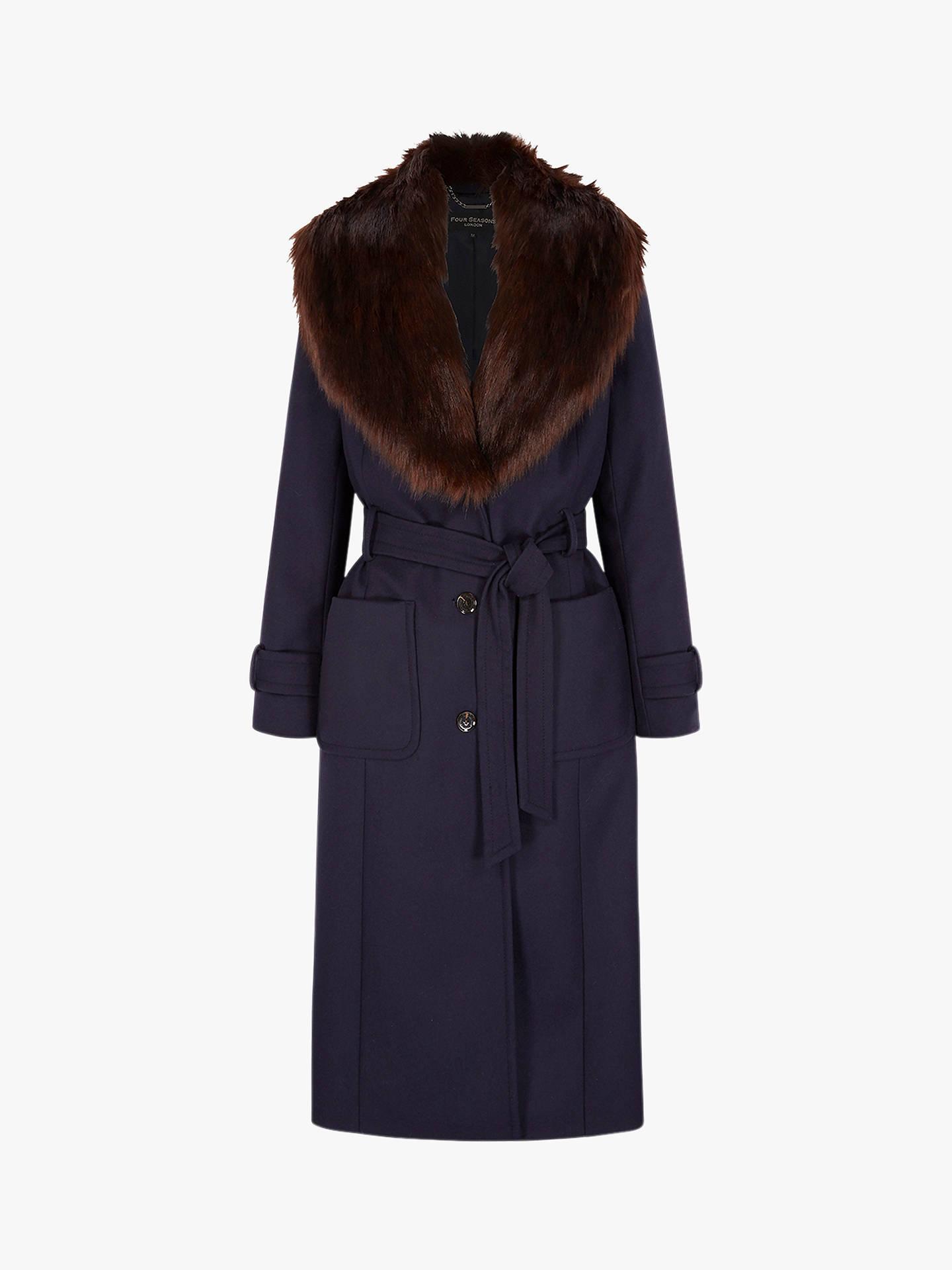 3a55a9ae6358 Buy Four Seasons Faux Fur Collar Coat