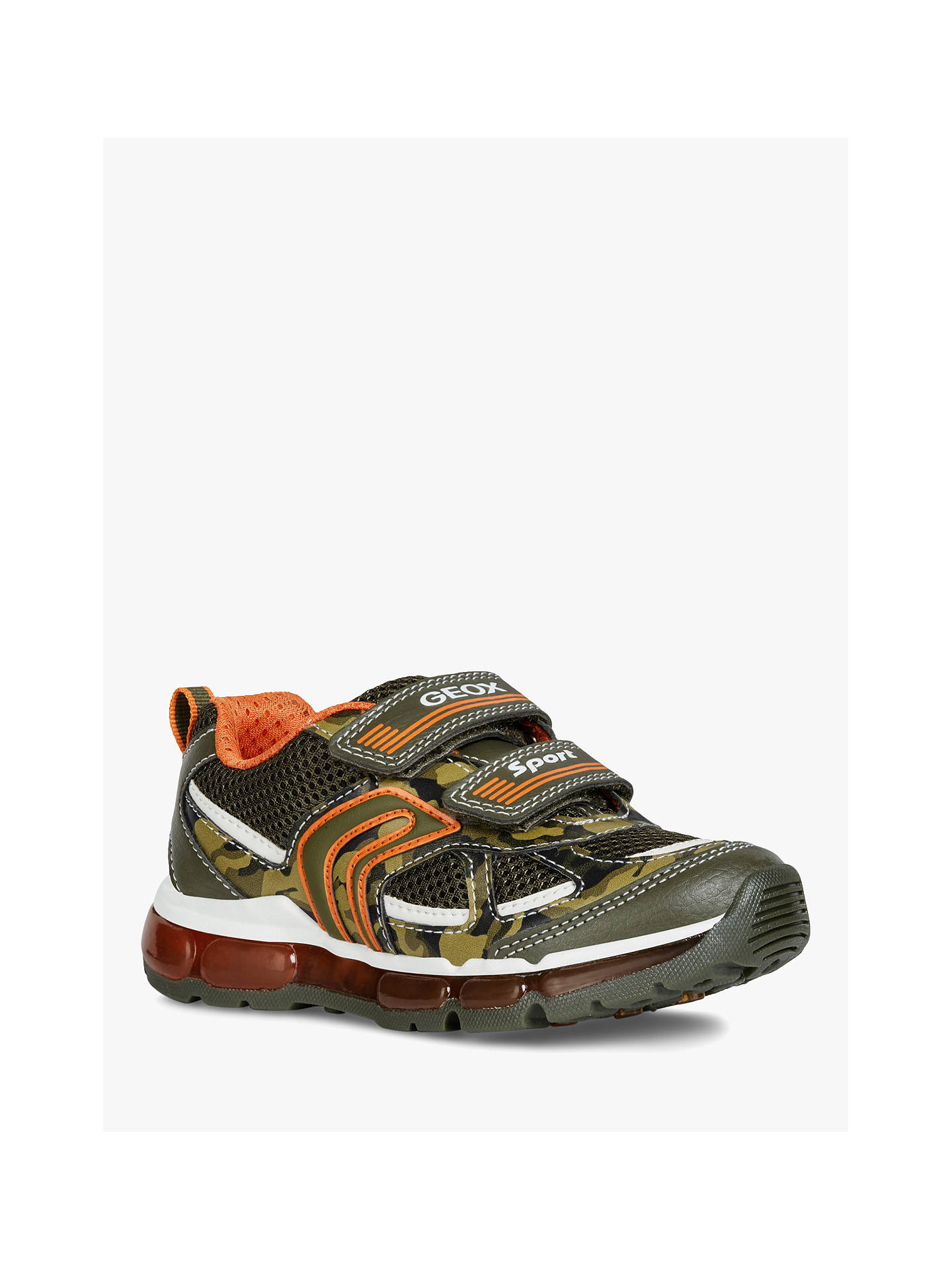 60a8186f7bb6 ... Buy Geox Children's J Android Riptape Trainers, Military/Orange, 33  Online at johnlewis ...
