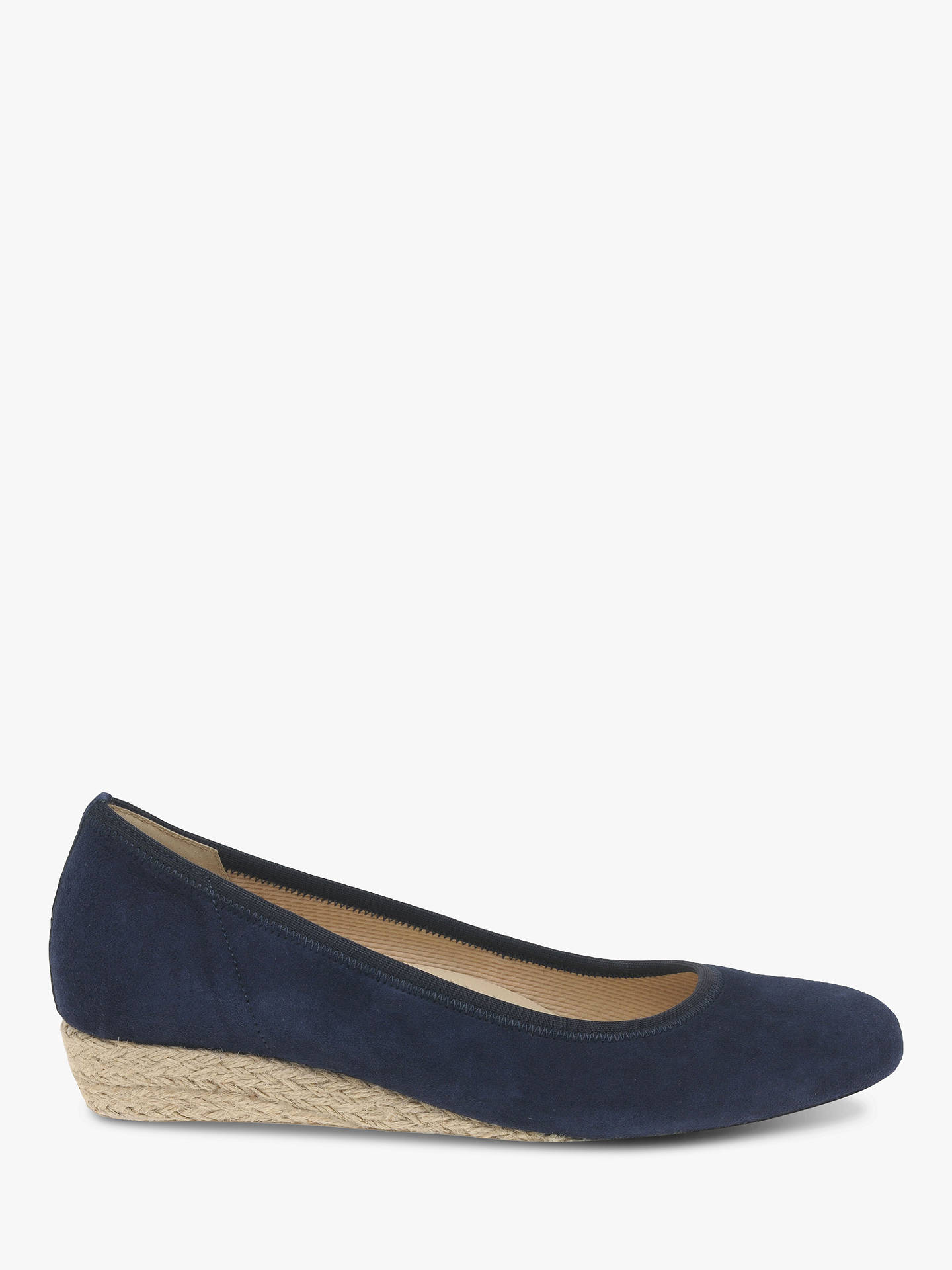c1e771abe0714 Buy Gabor Epworth Wide Fit Espadrille Wedge Pumps, Navy Suede, 4 Online at  johnlewis ...