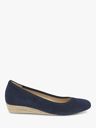 Gabor Epworth Wide Fit Espadrille Wedge Pumps, Navy Suede